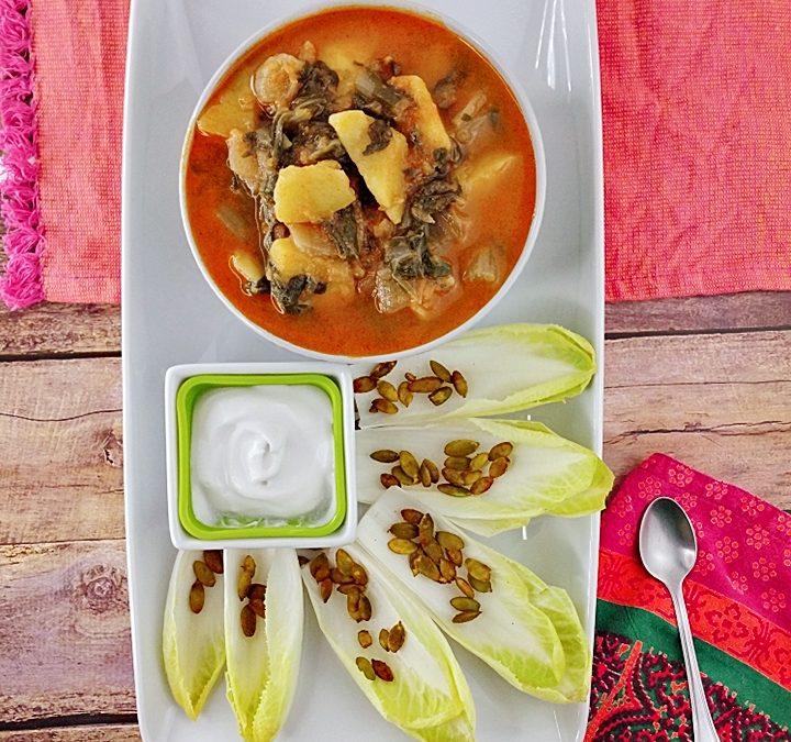Acelgas con patatas prebióticas, endibias y salsa de yogur